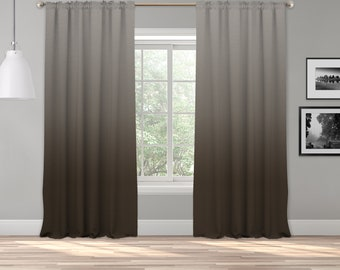 Brown Grey Ombre Curtain Panel,Shades Ombre,Gradient Multicolor,Custom Size,Made To Order,Extra Long Size,Boho Dip Dye Curtain,Digital Ombre