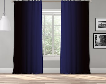 Navy Blue Black Ombre Curtain Panel,Shade Symmetrical Ombre Custom Sized,Made to Order,Extra Long Curtain,Boho Dip Dye Curtain,Digital Ombre