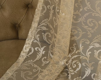 Beige Lace Classic Sheers curtain Panels,Rod pocket curtains,Custom size,Custom made,Sheer,Linen Window Curtains,Made By order,Shabby Chic