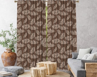 Brown Boho Curtain,African Mud,Extra Long,Blackout,Sheer,Decorative,Home Decor,Living Room,Room,Custom Size,Made to order