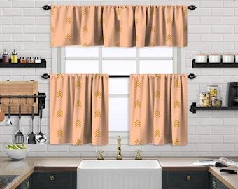 Salmon Boho Curtain,African Mud,Window Valance Treatments,Blackout,Sheer,Decorative,Valances Tiers Cafe Curtains,Custom Window Curtain