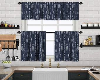 Navy Blue Boho Curtain,African Mud,Window Valance Treatments,Blackout,Sheer,Decorative,Valances Tiers Cafe Curtains,Custom Window Curtain