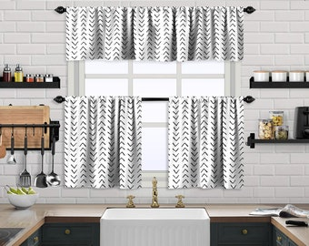 White Boho Kitchen Curtain,African Mud,Window Valance,Blackout,Sheer,Decorative,Home Decor,Caffe Curtain,Custom Size,Made to order
