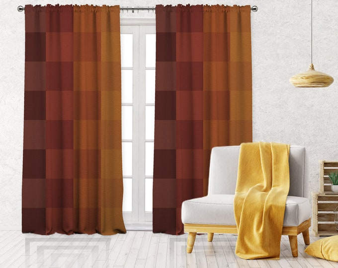 Burnt Orange Abstract Square Print,Minimalist Modern Farmhouse Curtain,Boho Art Gallery Decor,Custom Curtain Panel,Blackout,Sheer,Decorative
