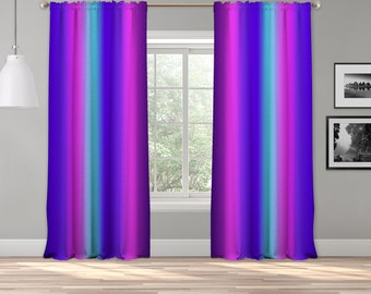 Neon Colors Ombre Curtain Panel,Shade,Ombre,Gradient Multicolor,Custom Size,Made To Order,Extra Long Size,Boho Dip Dye Curtain,Digital Ombre