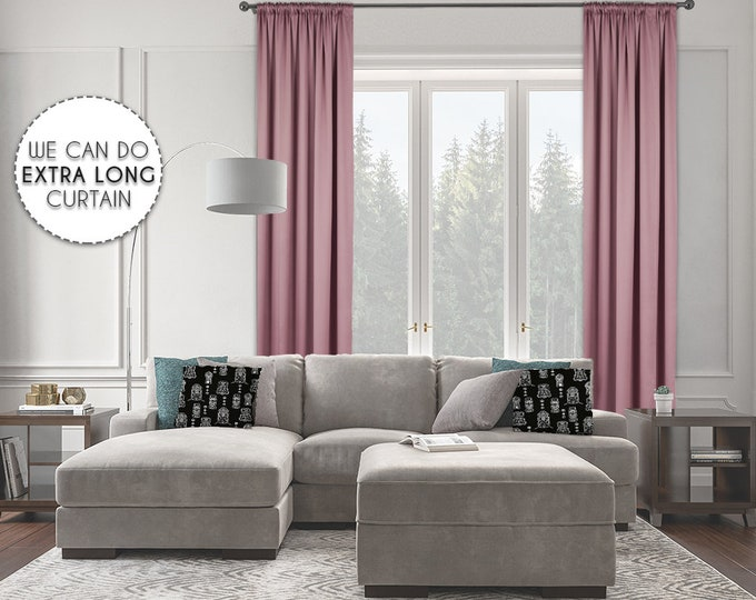 Extra Long Room Darkeing,Rose Pink Color,Blackout,Room Darkering,Thermal insulated,Noise reducing,Custom Made 12 13 14 15 16 17 18 20 24 ft