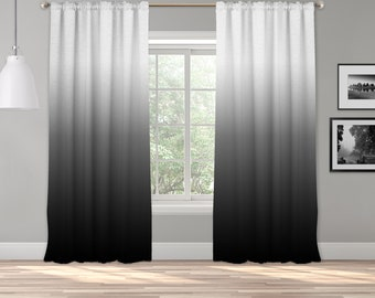 Black Ombre Curtain Panel,Shades Ombre,Gradient Multicolor,Custom Sized,Made To Order,Extra Long Size,Boho Dip Dye Curtain,Digital Ombre