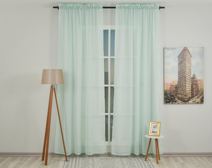 Teal Green Linen Look Sheers curtain Panels,Rod Pocket Sheer Curtains,Custom size,Sheer,Linen Window Curtains,Made By order,Shabby Chic