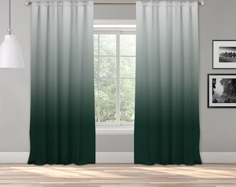 Dark Green Ombre Curtain Panel,Shades Ombre,Gradient Multicolor,Custom Size,Made To Order,Extra Long Size,Boho Dip Dye Curtain,Digital Ombre