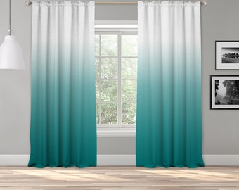 Teal Green Ombre Curtain Panel,Shades Ombre,Gradient Multicolor,Custom Size,Made To Order,Extra Long Size,Boho Dip Dye Curtain,Digital Ombre