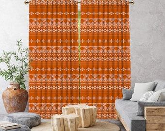 Burnt Orange Boho Curtain,African Mud,Extra Long,Blackout,Sheer,Decorative,Home Decor,Living Room,Room,Custom Size,Made to order