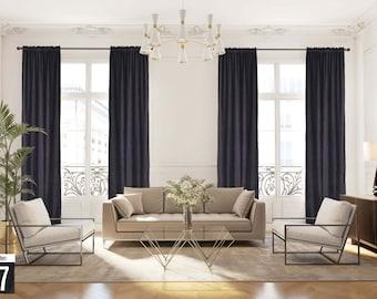 Extra long Luxury Velvet Curtain,Anthracitte Color Dining Room Curtain,Bedroom,Grey Velvet Fabric,Custom Made 12 13 14 15 16 17 18 20 24 ft