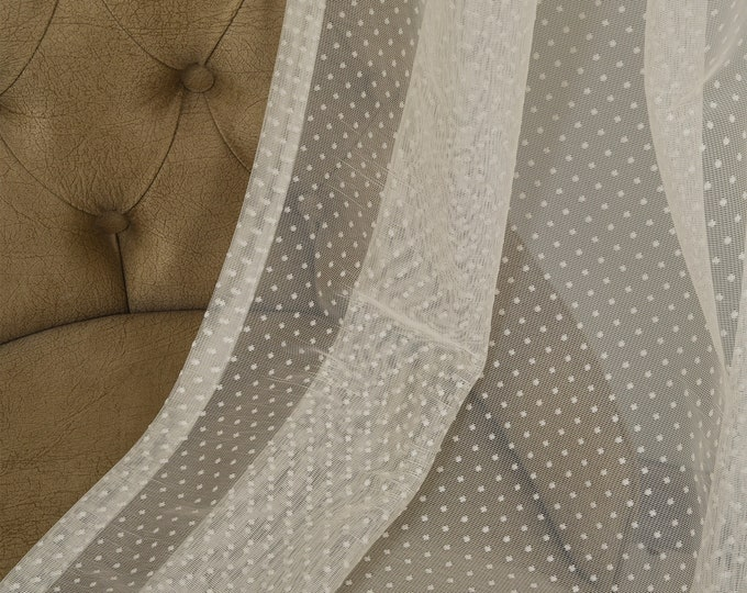 Cream Lace Point Sheers curtain Panels,Rod pocket curtains,Custom size,Custom made,Sheer,Linen Window Curtains,Made By order,Shabby Chic