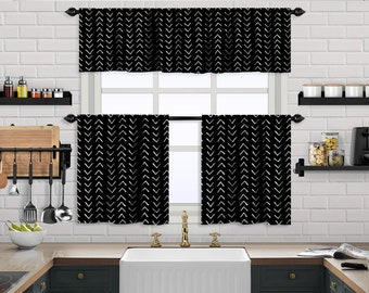 Black Boho Kitchen Curtain,African Mud,Window Valance,Blackout,Sheer,Decorative,Home Decor,Caffe Curtain,Custom Size,Made to order