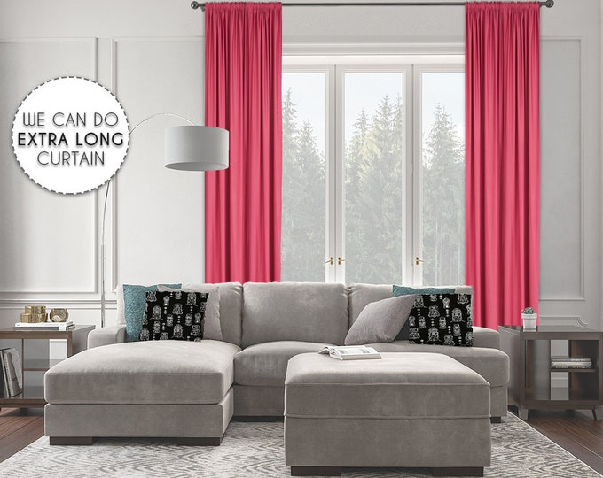 Extra Long Room Darkeing,Dark Pink Color,Blackout,Room Darkering,Thermal insulated,Noise reducing,Custom Made 12 13 14 15 16 17 18 20 24 ft