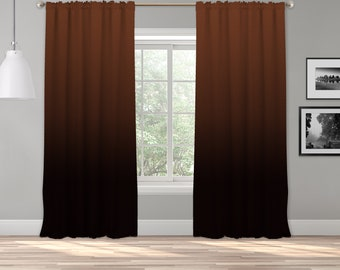 Wood Brown Ombre Curtain Panel,Shade,Ombre,Gradient Multicolor,Custom Size,Made To Order,Extra Long Size,Boho Dip Dye Curtain,Digital Ombre