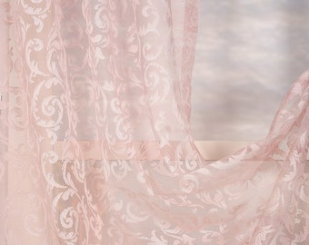 Set of 2 Lace Sheers curtain Panels,Rod pocket curtains,Custom size,Custom made,Sheer,Linen Window Curtains,Made By order,Shabby Chic