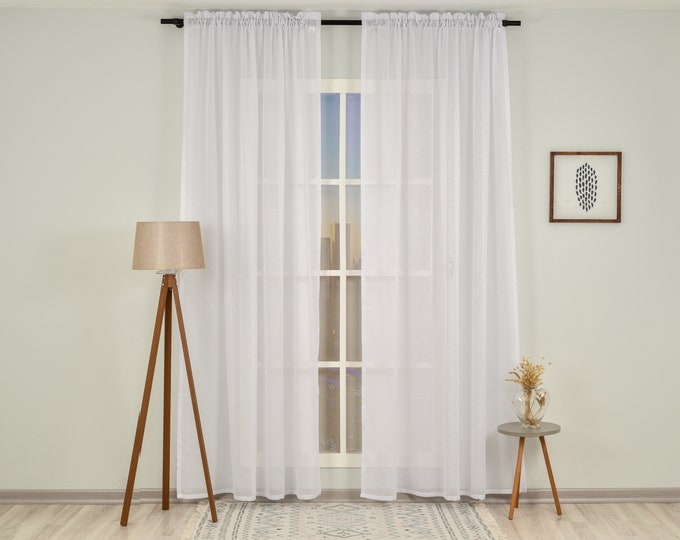 White Linen Look Sheers curtain Panels,Rod Pocket Sheer Curtains,Custom size,Sheer,Linen Window Curtains,Made By order,Shabby Chic