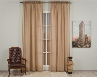 Brown Linen Look Sheers curtain Panels,Rod Pocket Sheer Curtains,Custom size,Sheer,Linen Window Curtains,Made By order,Shabby Chic,Earth