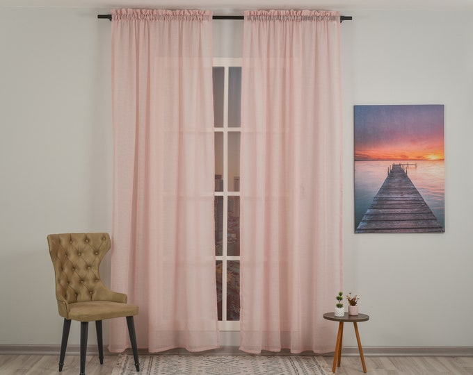 Pink Linen Look Sheers curtain Panels,Rod Pocket Sheer Curtains,Custom size,Sheer,Linen Window Curtains,Made By order,Shabby Chic,Baby Room