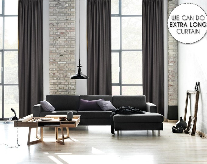 Extra Long Luxury Solid Anthracite Linen Look Curtain Custom Made 12 13 14 15 16 17 18 20 24 ft Gray Colors Linen Decorative Home Modern