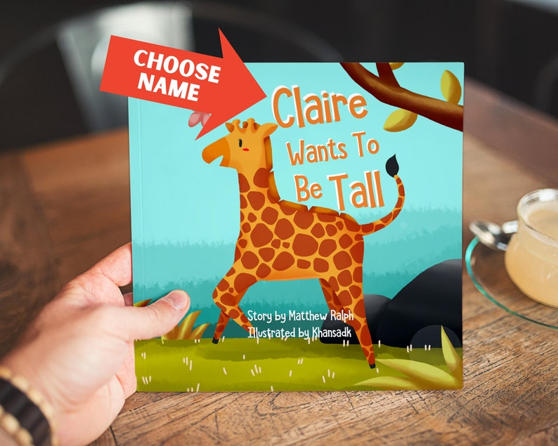 Personalized Giraffe Baby Toddler or Children's Book  image 0