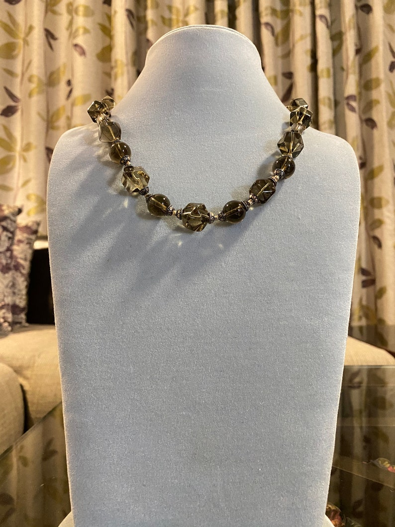Women necklace Brown and Grey Geometric Beads Necklace Brown Stones Necklace Necklace for all occasions Semi Precious Stone Necklace