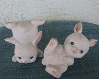 Vintage HOMCO Bunny Figurines-Set of Two-Tumbling Bunnies-Ceramic Bunnies-Collectible Bunnies-Spring Decor-Easter Decor-Pair of Two-Rabbits
