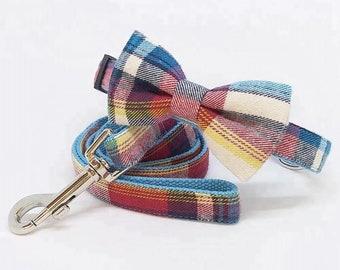 Colourful Tartan Bow Tie Dog Collar