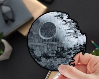 The Death Star Vinyl Sticker | Metal Planet | Dark side | Darth Vader | Notebook Sticker | Space Vinyl Decal