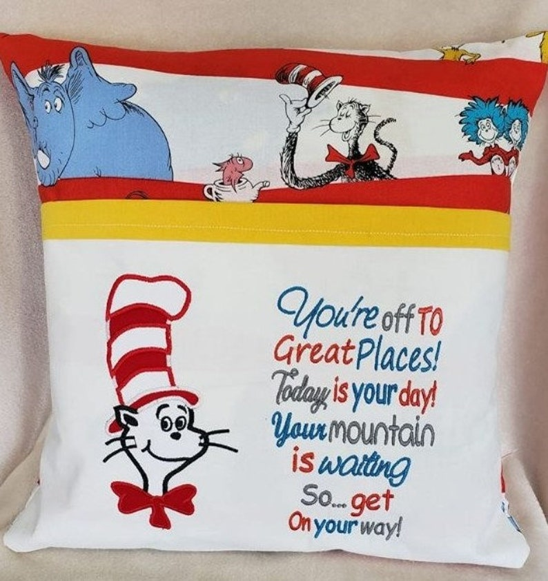 Reading Pillow Pocket Pillow-INSTANT D0WNL0AD You/'re off to Great Places with the cat in the hat embroidery 2 Designs 3 Sizes