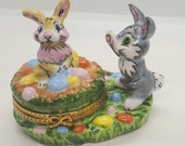 Easter Bunnies with Removable Egg Limoges Box