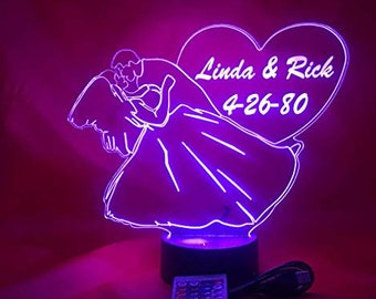 Wedding Couple Light Up Table Lamp LED Engraved Names and Wedding Date Personalized Light Lamp Couple Lamp With Remote 16 Different Colors