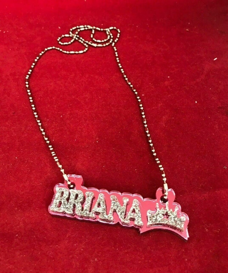 Dazzling and Stunning! Made to Order Any Name and Color Personalized Name Plate Custom Name Necklace Nameplate Name Laser Cut Diamond Look