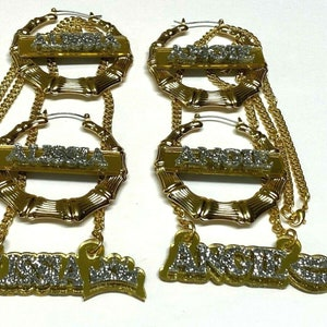 Made To Order Personalized Matching Necklace and Gold Bamboo Earrings Set Name Plate Custom Laser Cut Diamond Look Dazzling and Stunning!