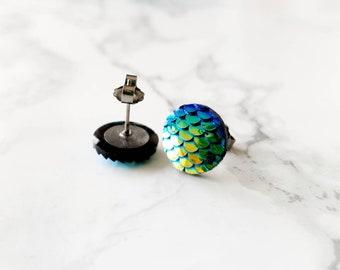 Blue titanium earrings studs, Mermaid Iridescent Jewellery, Blue Green Hypoallergenic Studs, birthday gifts for her, mermaid wedding