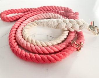 Pretty in Pink rope leash, pink rope leash, ombre rope leash, summer rope leash, dog rope leash, rope leash, pink tie dye