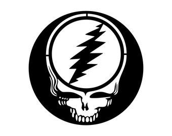 Grateful Dead Metal Sign Steal Your Face Art Stealie Metal Art Sign Greatful Dead Skull with 13 Point Lightening Bolt Dead Head Wall Art