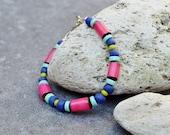 Blue Fuchsia Beaded Bracelet, Ibiza Hippie Jewelry, Boho Bracelet, Colorful Bohemian Bracelet, Beach Summer Bracelet Beads, Magenta Jewelry