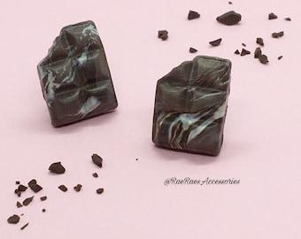 Marble Chocolate Bar Stud Earrings