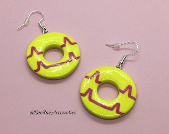 Yellow Dangly Party Ring Earrings