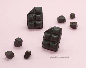 Dark Chocolate Bar Stud Earrings