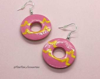 Dark Pink Dangly Party Ring Earrings