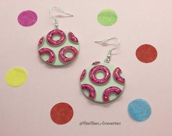 Pink Sprinkle Doughnut Print Dangly Earrings