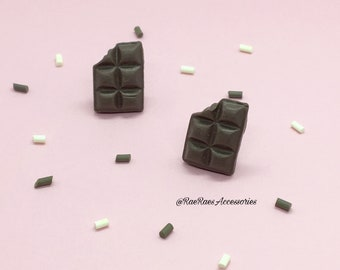 Milk Chocolate Bar Stud Earrings