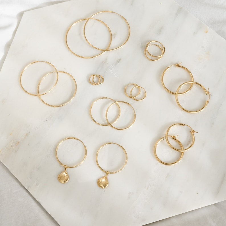 Mia Gold 14k filled thin hoops small hoops medium hoops gold hoops thin hoops stackable hoops 14k gold everyday hoops large hoops