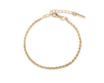 Rita Thin Rope Vintage Gold Chain, Rope Chain Bracelet, 18k Gold, Twisted Chain, Dainty Bracelet, Layering Bracelet, Everyday Jewellery