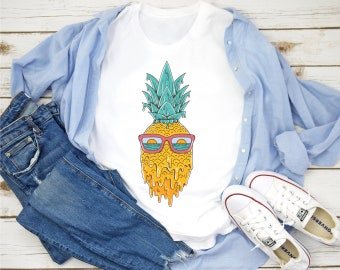 12-18 months toddler painted tee wearable art summer fashion art to wear hand painted BABY tee ooak Pineapple t-shirt fruit tshirt