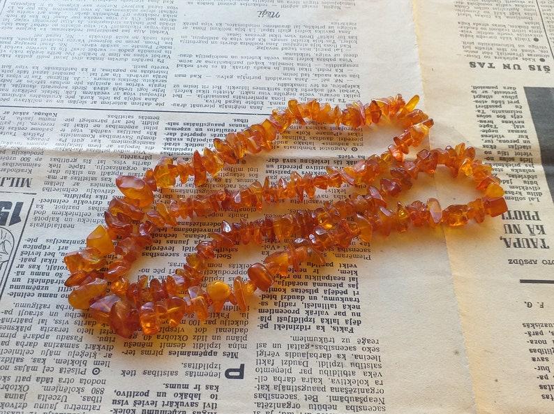 Natural Baltic Amber Vintage Necklace Honey Polished 72 cm 33 gr #a8