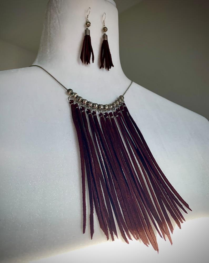 Boho Leather Fringe Necklace Leather Fringe Earrings Set image 1